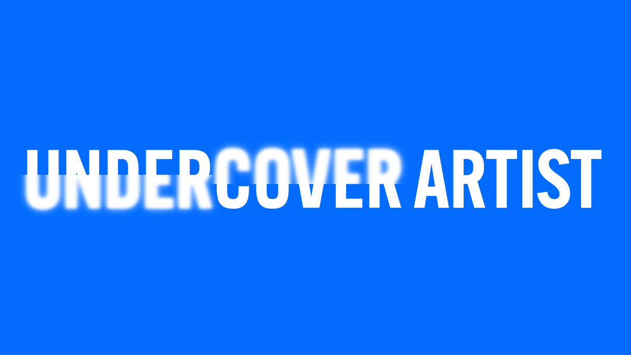 A blue background with the Undercover Artist logo in white across the centre