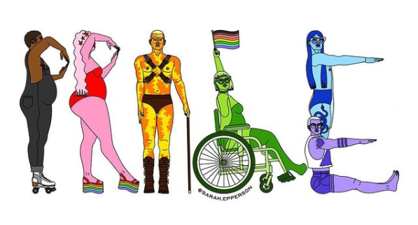 Image description: A colourful image of people of different shapes and sizes, some standing, one seated in a wheelchair, shaping their bodies to spell the word PRIDE