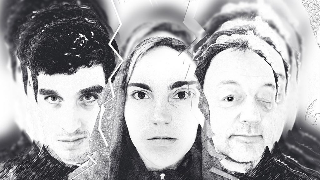 An abstract black and white image for three faces.