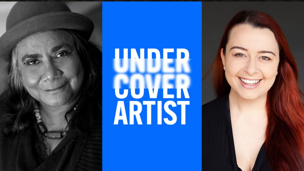 A black and white headshot of Gayle Kennedy wearing a bowler hat. A blue rectangle with the Undercover Artist logo separates Gayle's photo from Madeleine Little's on the right. Madeleine has long red hair and is wearing a black top and smiling.