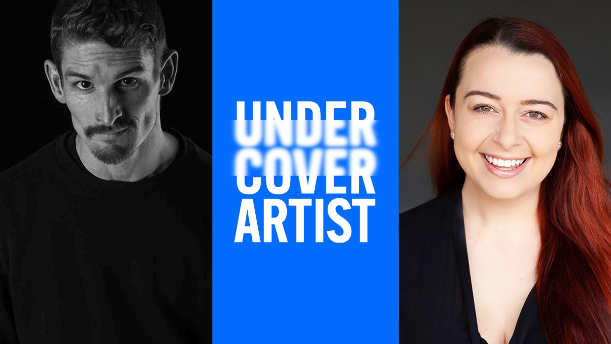 A black and white headshot of Dan Daw wearing a black t-shirt and looking at the camera. A blue rectangle with the Undercover Artist logo separates Dan's photo from Madeleine Little's on the right. Madeleine has long red hair and is wearing a black top and smiling.