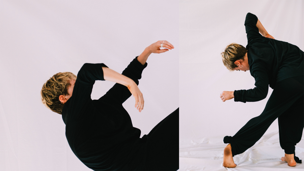 Two images side by side of Ruby dancing. She is wearing long black pants and shirt and has short blonde hair.